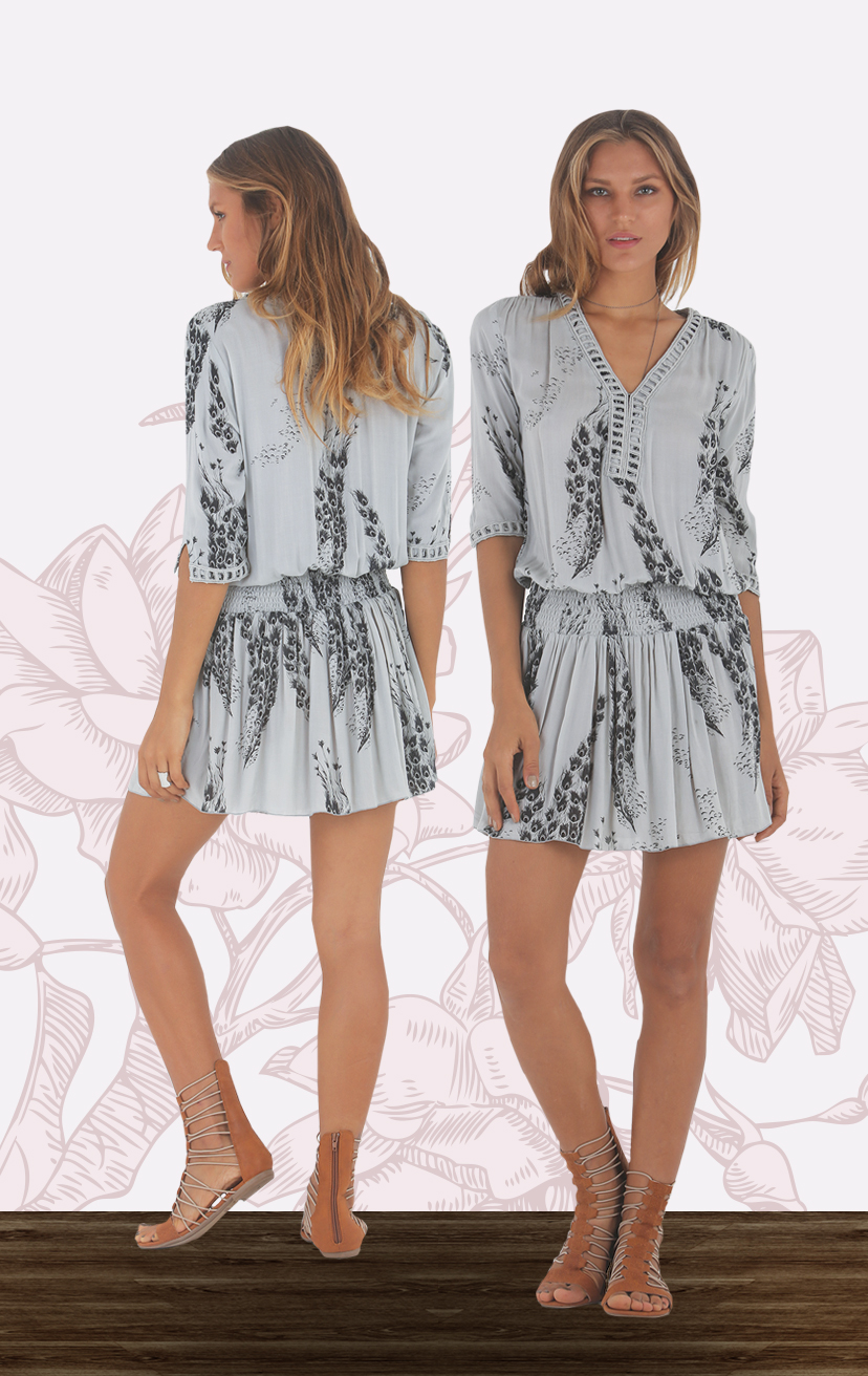 DRESS KANDUI 3/4 Slv drop-waist v-neck short dress w/ lace neckline & cuffs RAYON VOILE   XS-S-M-L