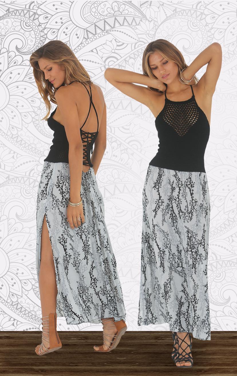 DRESS PUAKAI High neck crochet top maxi dress, w/ back adj ties & elastic straps TOP COTTON   BOTTOM RAYON  XS-S-M-L
