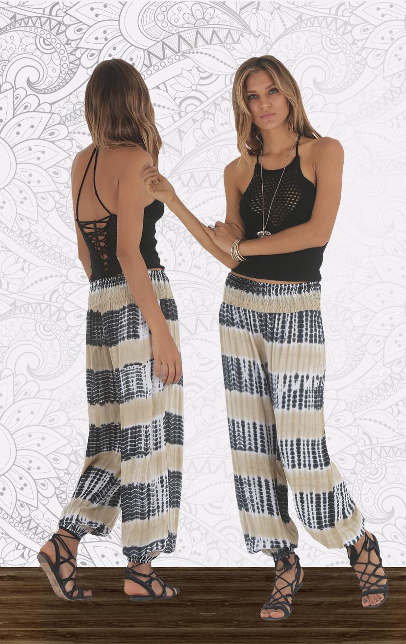 TOP KERAME High neck crochet top w/ back adj ties & elastic straps RAYON VOILE   XS-S-M-L – PANT ZODIAC Elastic-waist cuffed-elastic hem pant RAYON VOILE   XS-S-M-L