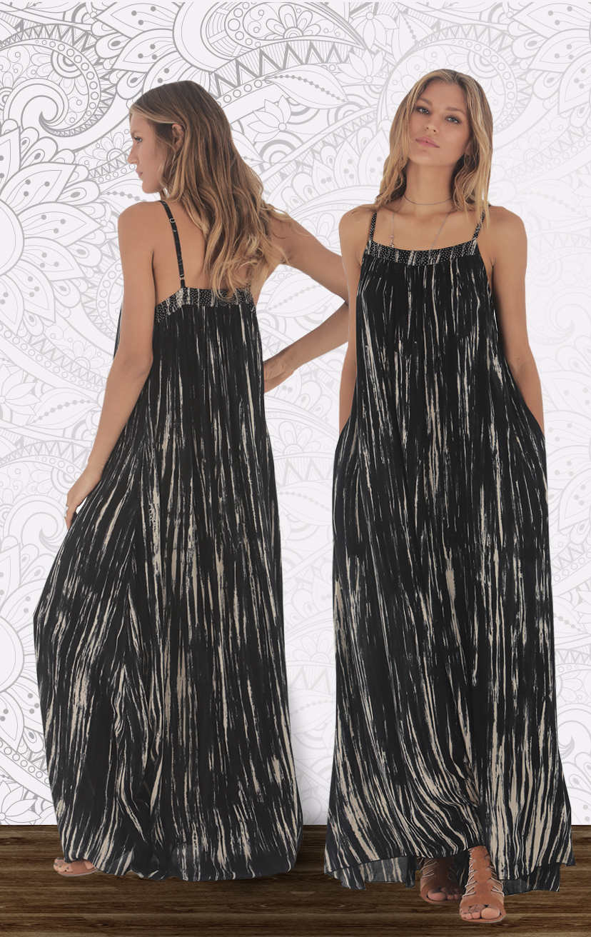 DRESS RIVA Adjustable spag-strap maxi dress, beaded top detail, side pkts RAYON VOILE   XS-S-M-L