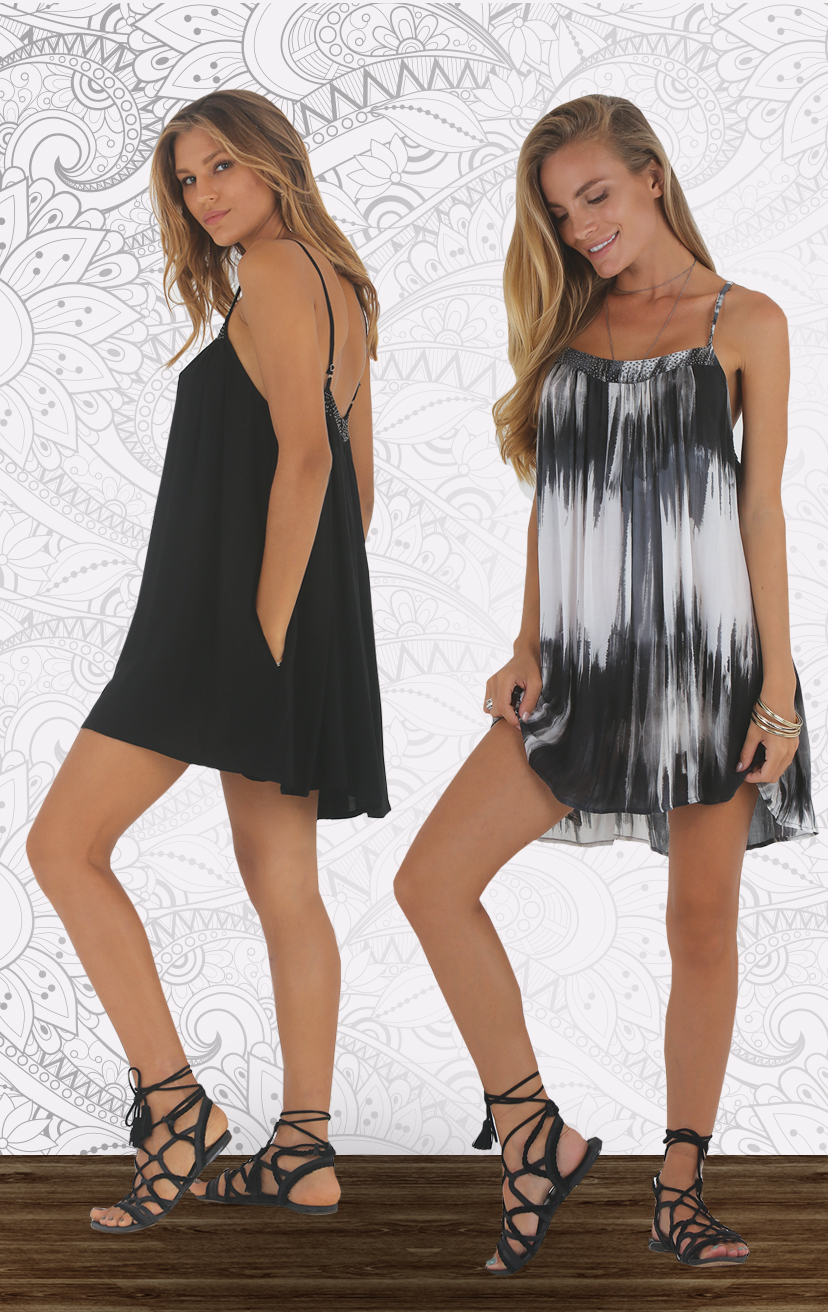 DRESS SEASHORE Adjustable spag-strap babydoll dress, beaded top detail, side pkts                      RAYON VOILE | XS-S-M-L