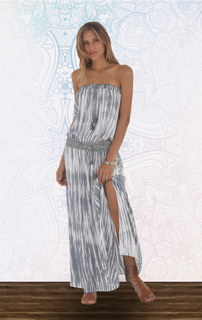DRESS PATEETE Strapless drop-waist maxi dress w/ drawstring lace waistband, side slits RAYON VOILE | XS-S-M-L