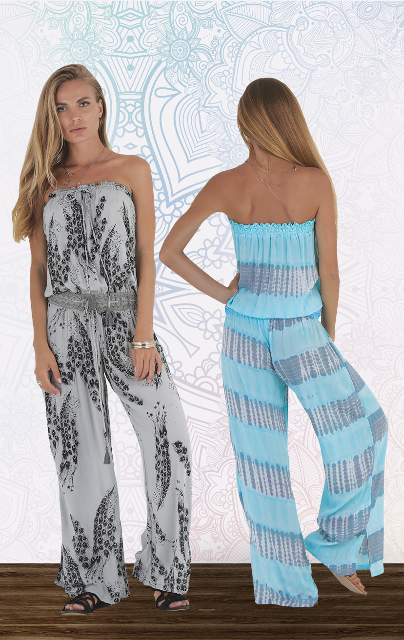 JUMPSUIT BINGIN Strapless drop-waist jumpsuit w/ drawstring lace waistband RAYON VOILE   XS-S-M-L