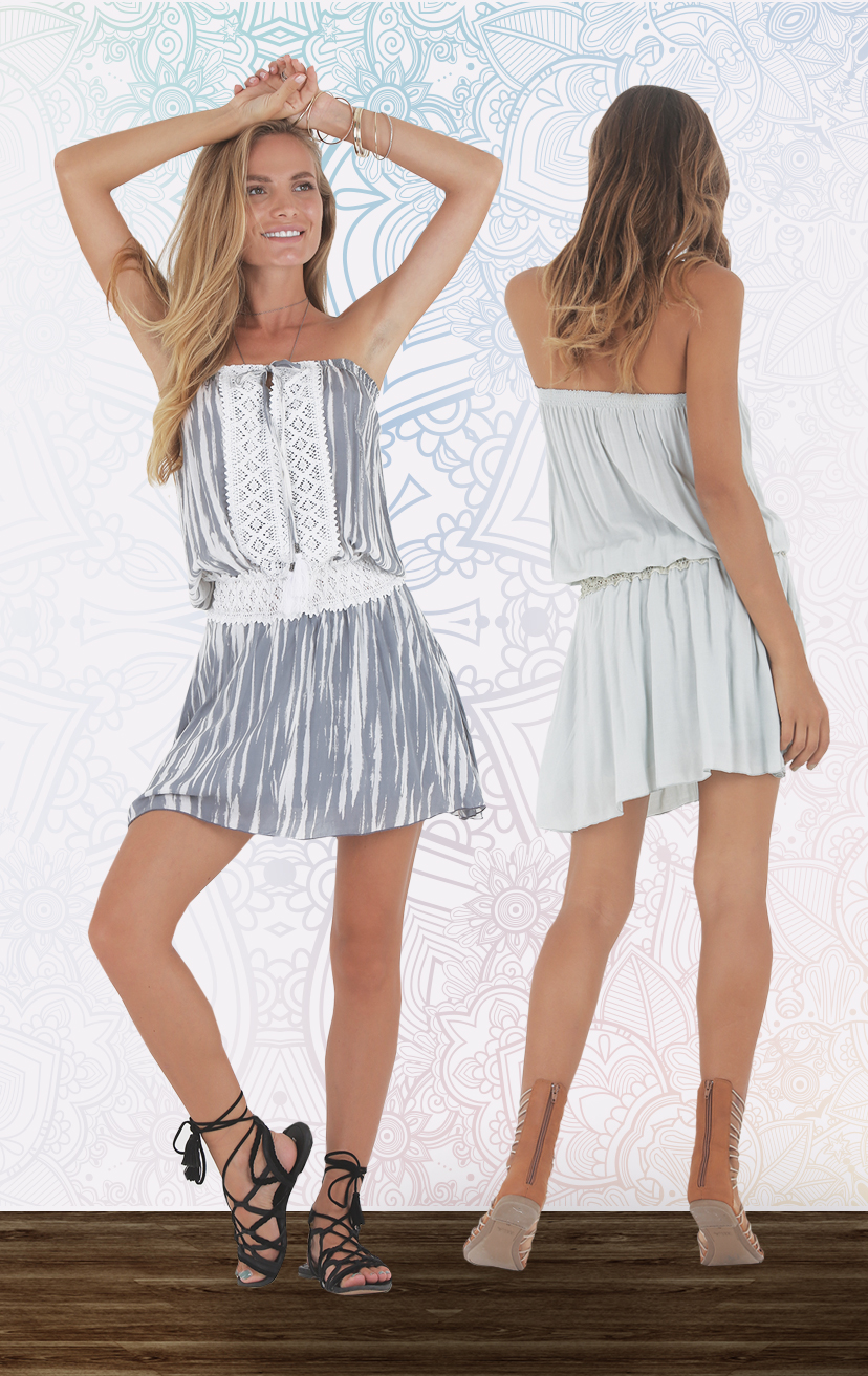 DRESS MOTION Strapless tie front short dress, double layered skirt, w/ waist & front lace detail  RAYON VOILE   XS-S-M-L