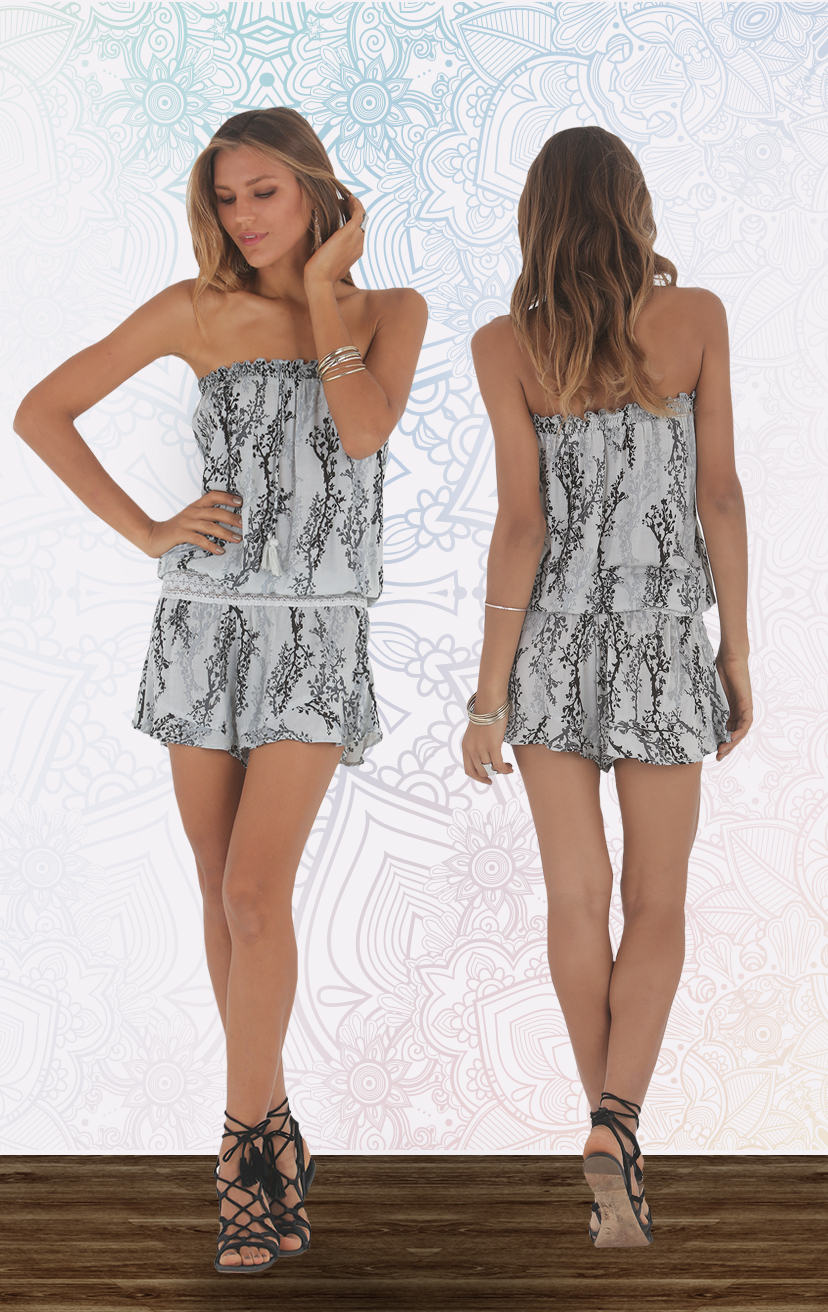 ROMPER CHANNEL Strapless w/ pom pom ties, elastic lace waistband romper RAYON VOILE   XS-S-M-L