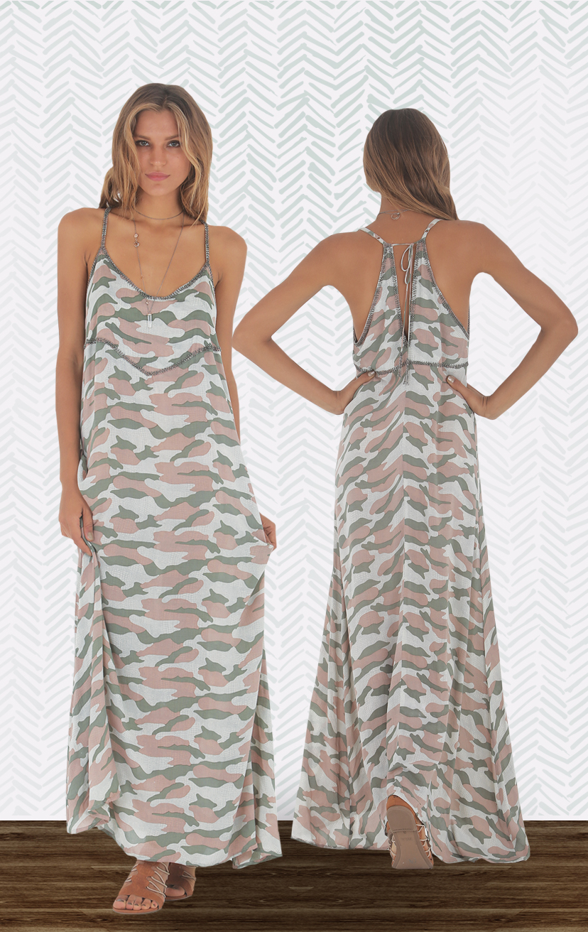 DRESS JAMMIN Spaghetti strap racer tie open back maxi dress, with front & back bead detail  RAYON VOILE   XS-S-M-L
