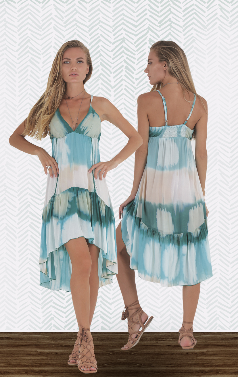 DRESS RHYTHM Triangle bodice spaghetti strap high low dress, w/ front lace detail, elastic back  RAYON VOILE   XS-S-M-L