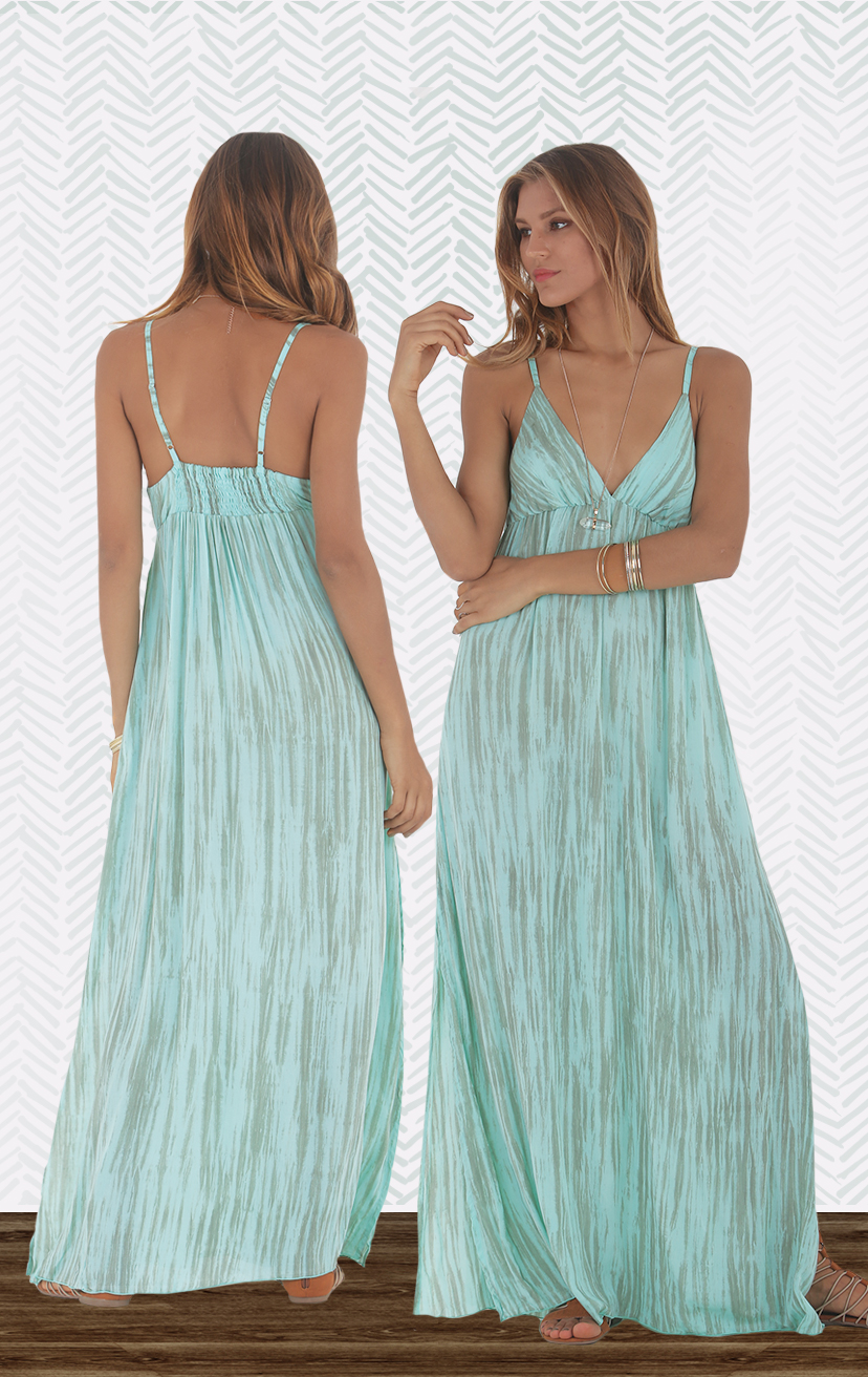 DRESS LAIDBACK Triangle bodice spaghetti strap maxi dress, w/ front lace detail, elastic back, side slit RAYON VOILE   XS-S-M-L