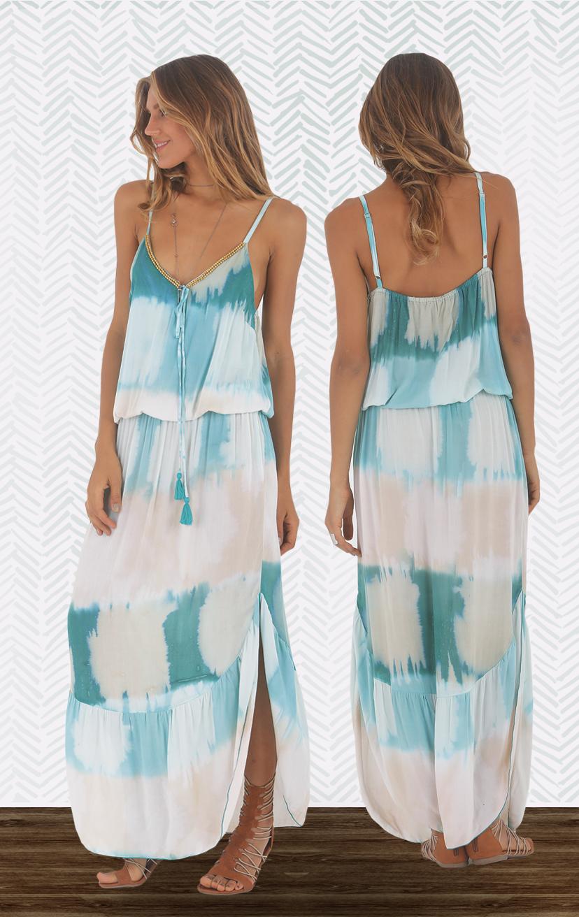 DRESS MERCY Spag-strap beaded neckline top, elastic waist, tulip-hem maxi dress RAYON VOILE   XS-S-M-L