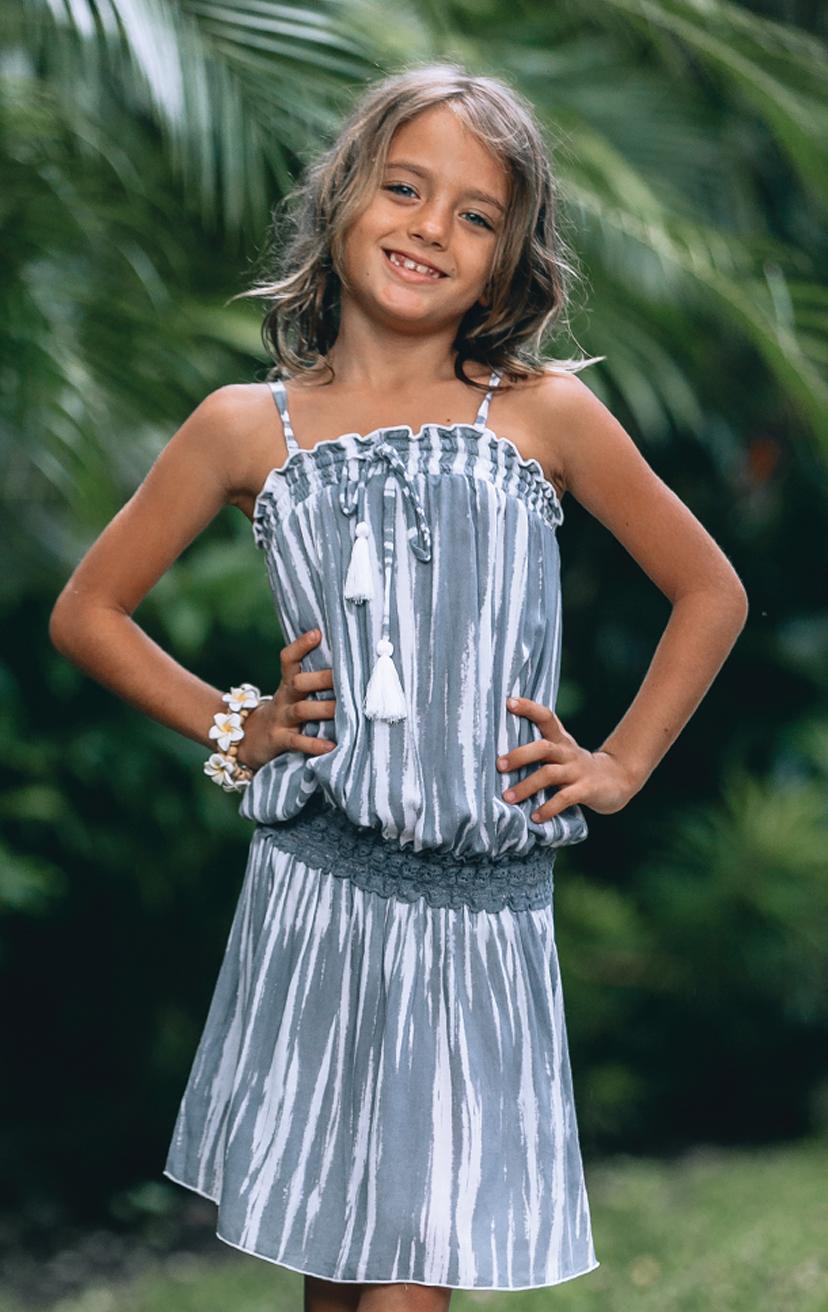 DRESS YOHAN Spaghetti strap short dress, top elastic w/ pom pom ties, waist elastic lace RAYON VOILE | 2/3 | 4/5 | 6/7 | 8/10