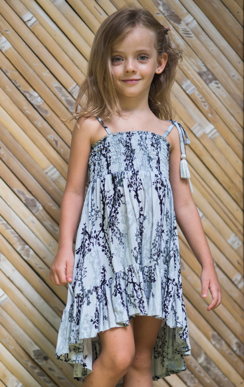 DRESS FLOUNCY Spaghetti strap top smocked high-low dress, w/ bottom ruffle RAYON VOILE | 2/3 | 4/5 | 6/7 | 8/10