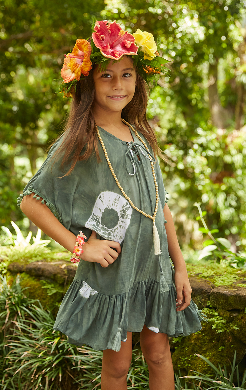 COVER-UP TWIXIE Lace-up neckline, wide kaftan sleeves, wide cut bodice cover-up, pom pom edges, ruffle hem 100% RAYON | 2/3 | 4/5 | 6/7 | 8/10