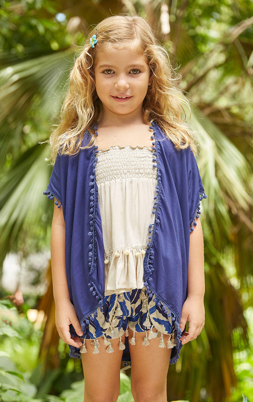 KIMONO JOLLY Open front mid-length kimono w/ pom pom edges 100% RAYON | 2/3 | 4/5 | 6/7 | 8/10 – TOP GUMMY Spaghetti straps smocked top, w/ pom pom detail bottom ruffle 100% RAYON | 2/3 | 4/5 | 6/7 | 8/10 – SHORTS JINGLE Tassel-edge Scallop-front Elastic-waist Shorts 100% RAYON | 2/3 | 4/5 | 6/7 | 8/10