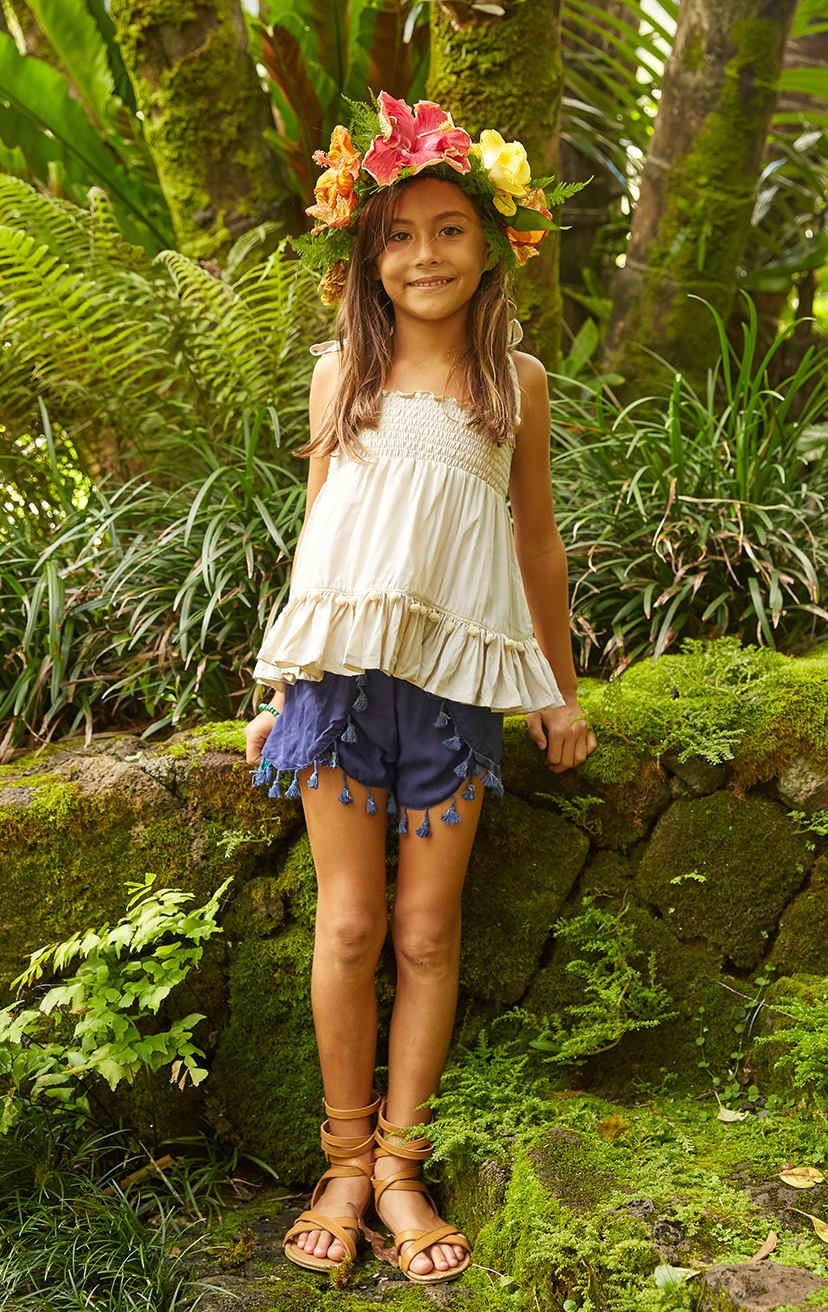TOP GUMMY   Spaghetti straps smocked top, w/ pom pom detail bottom ruffle 100% RAYON | 2/3 | 4/5 | 6/7 | 8/10 – SHORTS JINGLE Tassel-edge Scallop-front Elastic-waist Shorts 100% RAYON | 2/3 | 4/5 | 6/7 | 8/10