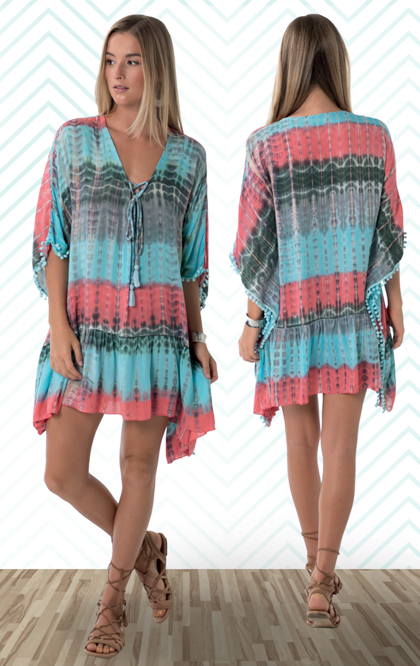 COVER-UP MARTINI   Lace up neckline, wide kaftan sleeves, wide cut bodice cover-up, pom pom trim edges, ruffle hem  100% RAYON | XS-S-M-L