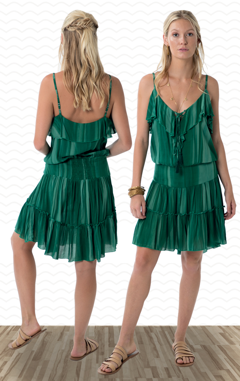 DRESS PARADISE   Lace up neckline, single ruffle detail, spaghetti straps, back elastic waist, bottom ruffle short dress    100% RAYON  | XS-S-M-L