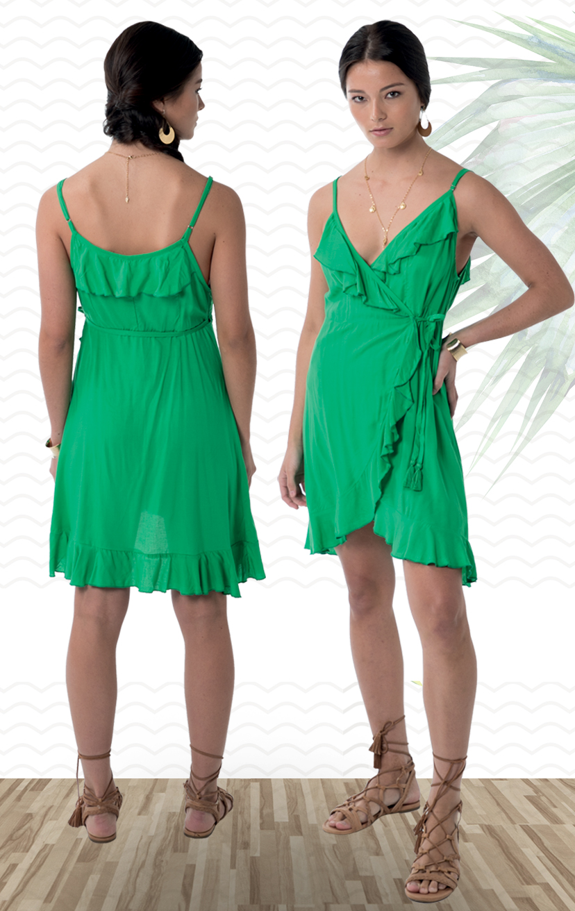 DRESS TOOTSIE   Spaghetti strap wrap short dress, all around ruffle edges, uneven round hem  100% RAYON | XS-S-M-L