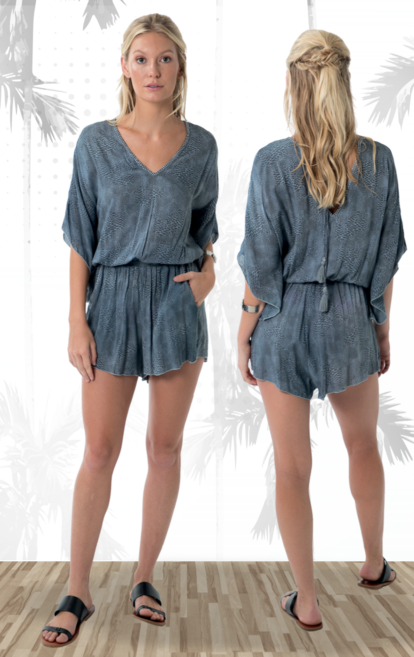 ROMPER ROCK   V-neck romper, beaded  neckline, wide sleeves,  elastic waist, front pockets  100% RAYON | XS-S-M-L