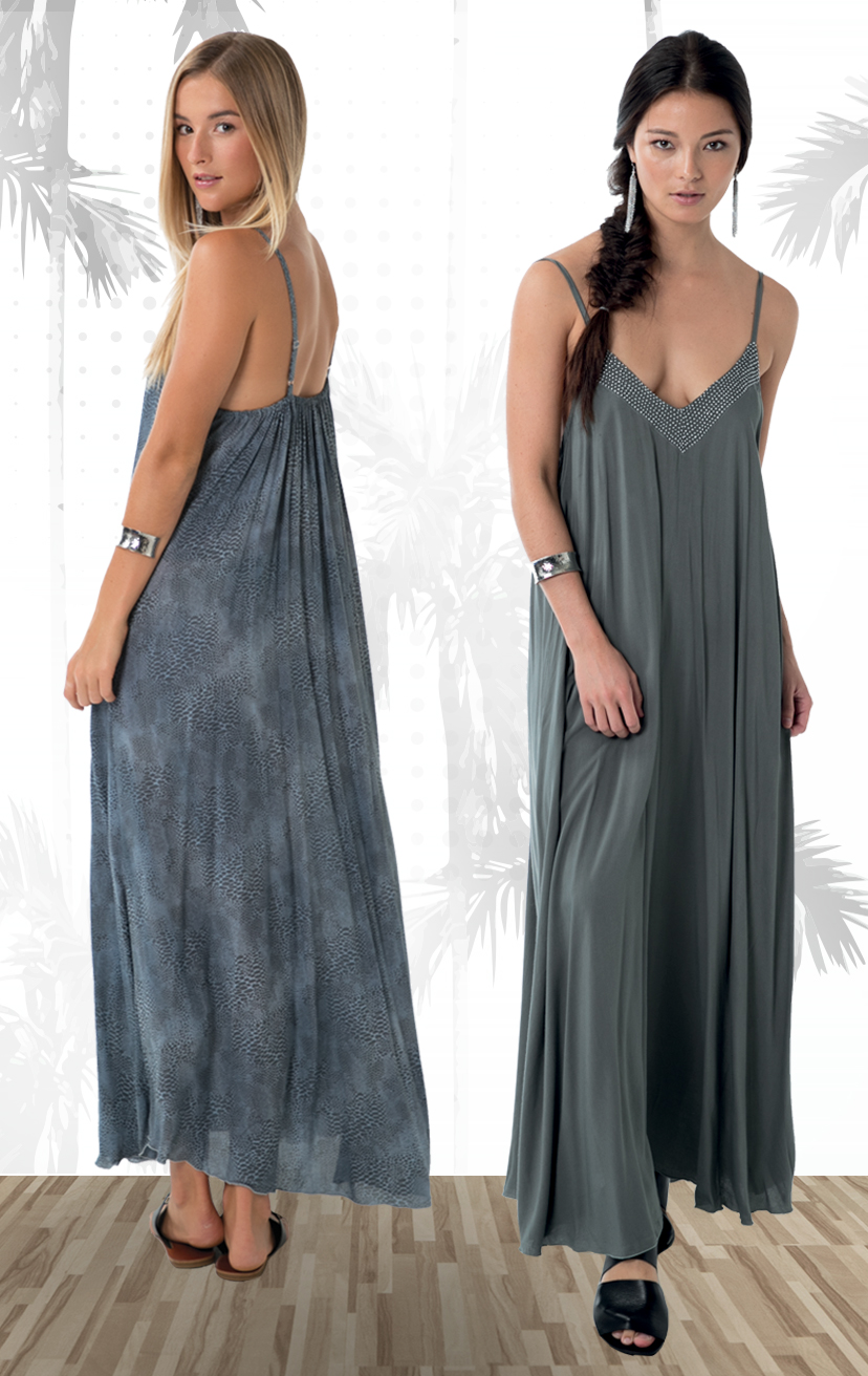 DRESS CURACAO   Beaded v-neckline, spaghetti strap maxi dress  100% RAYON | XS-S-M-L