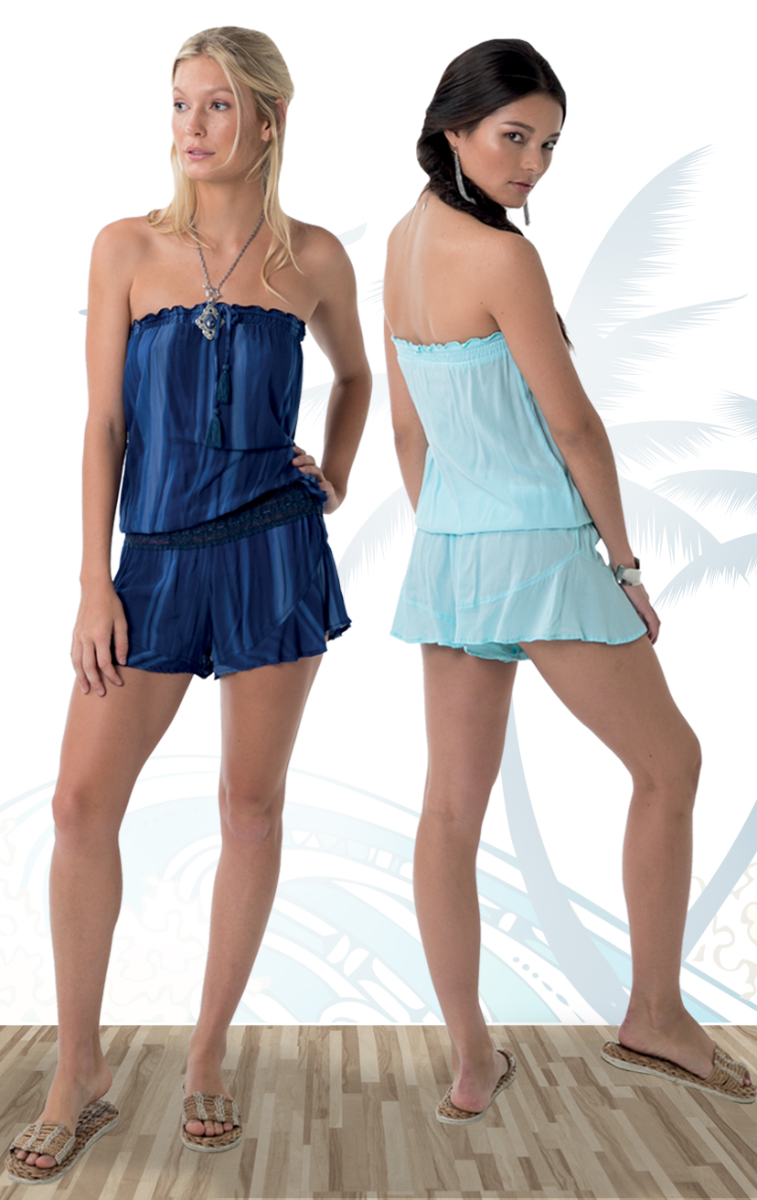 ROMPER CHANNEL Strapless romper, pom pom ties, elastic lace waistband 100% RAYON   XS-S-M-L