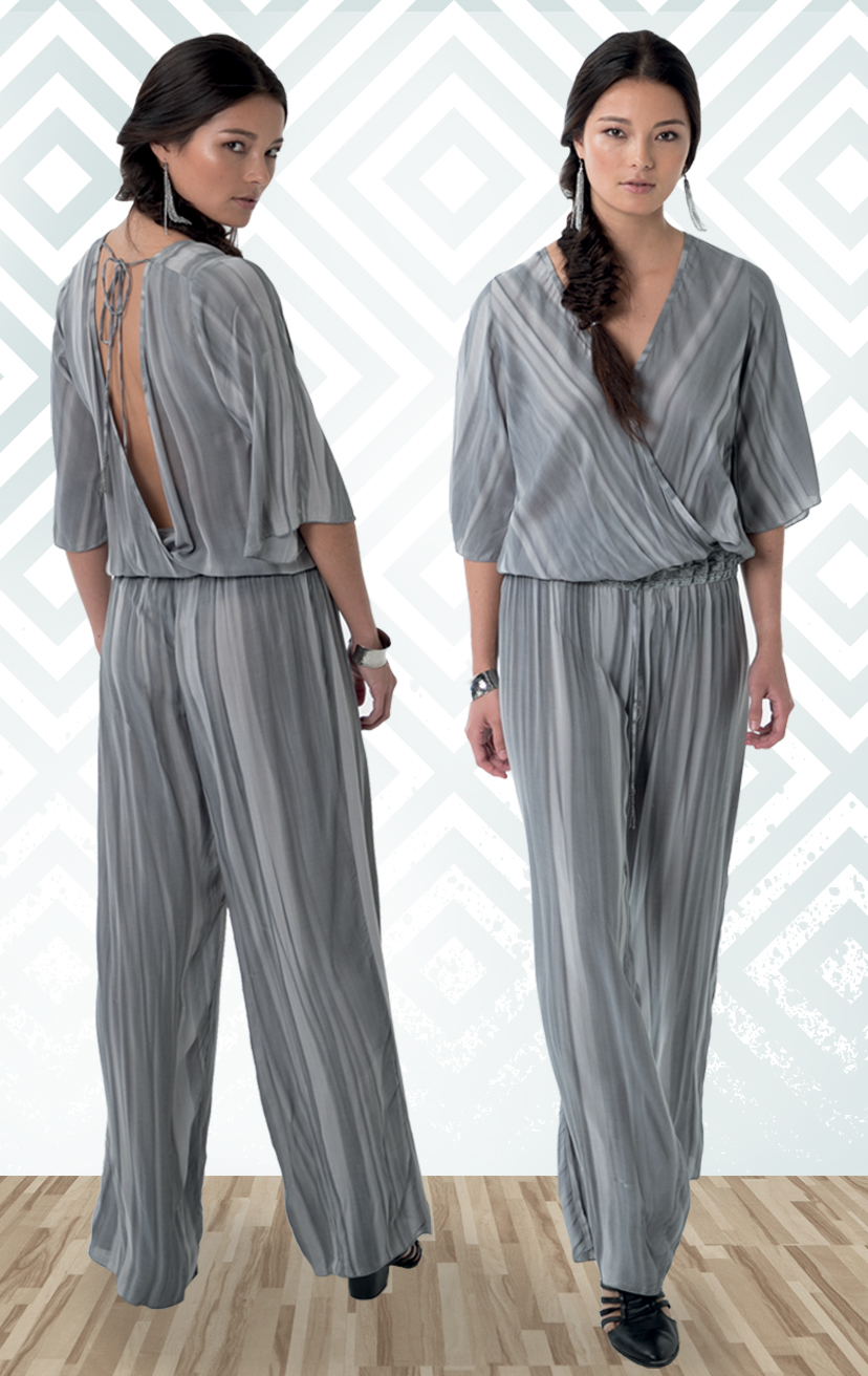 JUMPSUIT INSIGHT   Front and back wrap bell-slv jumpsuit, lace waistband, drawstring w/ tassels  100% RAYON | XS-S-M-L