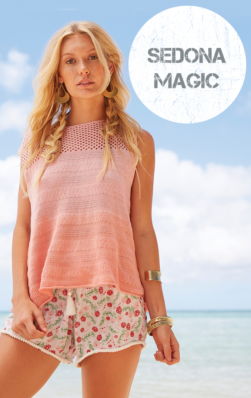 TOP PAPUA Sleeveless top, deep open-back with tie closure, knit top 100% COTTON   XS-S-M-L – SHORTS DEEPSEA Elastic lace waistband, w/ pom pom drawstrings and lace trim hem 100% RAYON   XS-S-M-L