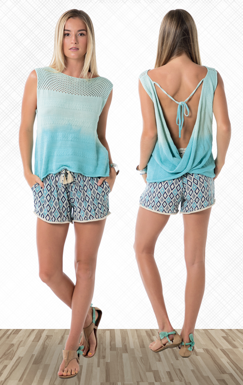 TOP PAPUA Sleeveless top, deep open-back with tie closure, knit top 100% COTTON   XS-S-M-L – SHORTS DEEPSEA Elastic lace waistband, w/ pom pom drawstrings and lace trim hem 100% cotton   XS-S-M-L