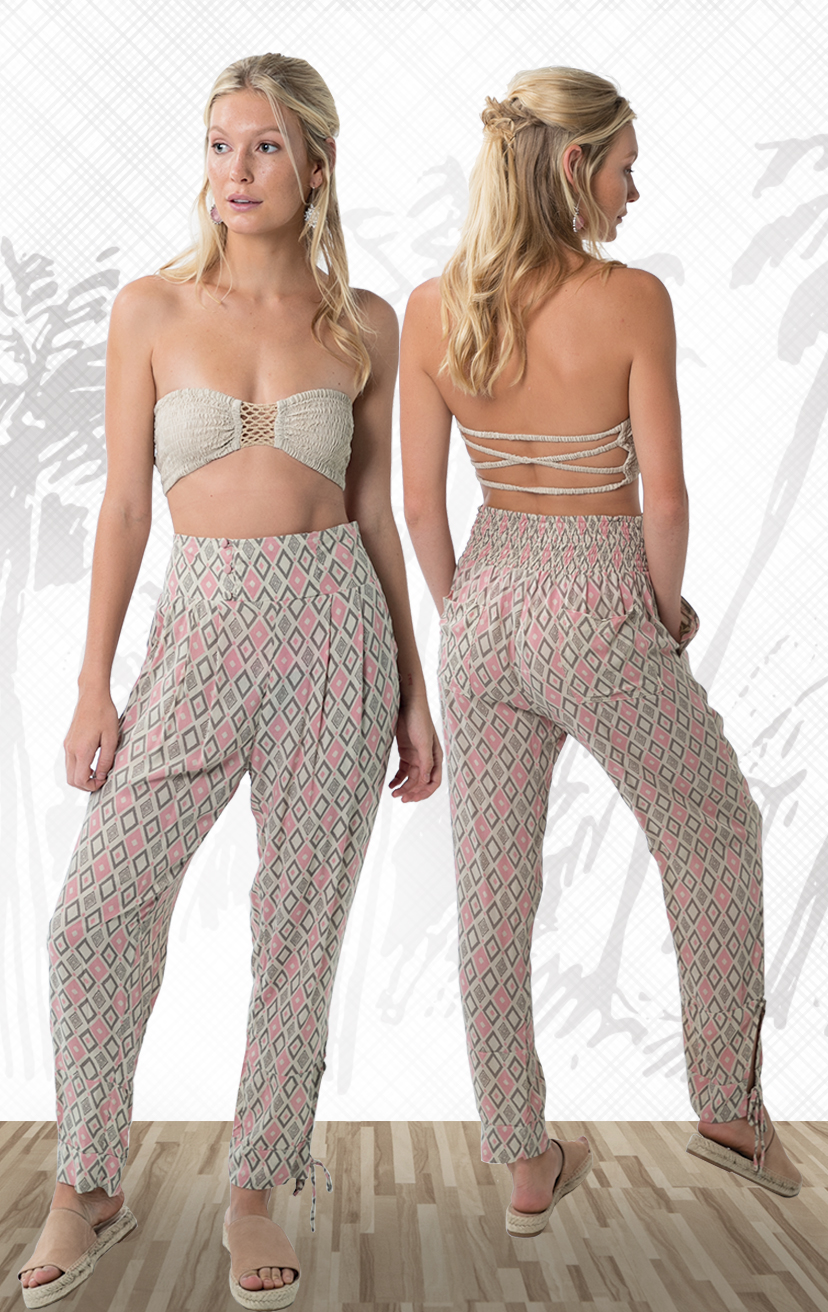 BANDEAU BLISS Smocked top, center crochet, x-back straps 100% RAYON   XS/S, M/L – PANT NIXON Wide waistband pant, bottom hem ties, back elastic, front button detail 100% RAYON   XS/S, M/L