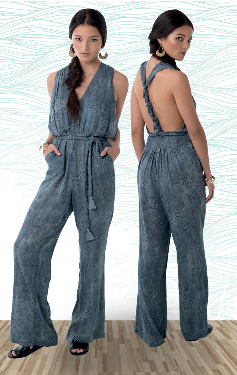 JUMPSUIT LOYALTY   Halter jumpsuit, back braid detail w/ long strap around waist, tied in front  100% RAYON | XS-S-M-L