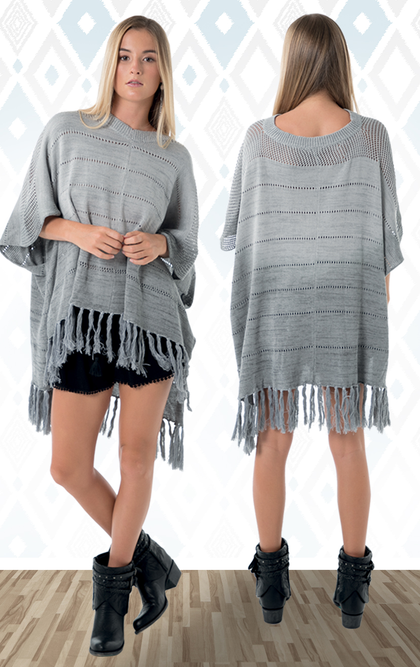 PONCHO MOOKA  Light knit poncho, v-neck rib style, arm holes, hip length, fringed bottom  100% RAYON | S-M-L