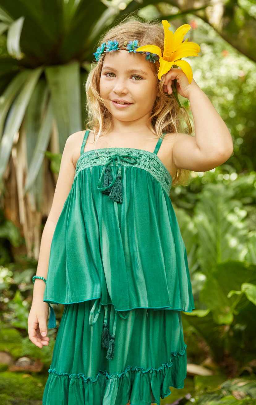 TOP BESTIE Spaghetti-strap babydoll top w/ lace top & tassel ends drawstring 100% RAYON | 2/3 | 4/5 | 6/7 | 8/10 – SKIRT GALAXY Smocked laced waistband skirt, w/ tassel ends drawstring high-low skirt, bottom ruffle 100% RAYON | 2/3 | 4/5 | 6/7 | 8/10
