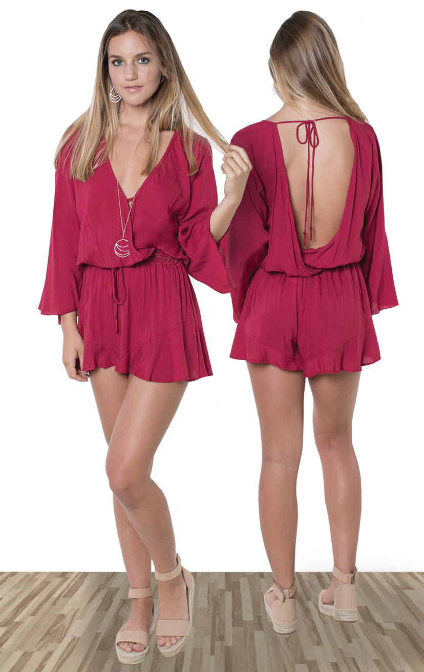 ROMPER HOWLITE    High waist bell-slv romper, front and back wrap, crochet waistband, ties w/ tassels  100% RAYON | XS-S-M-L