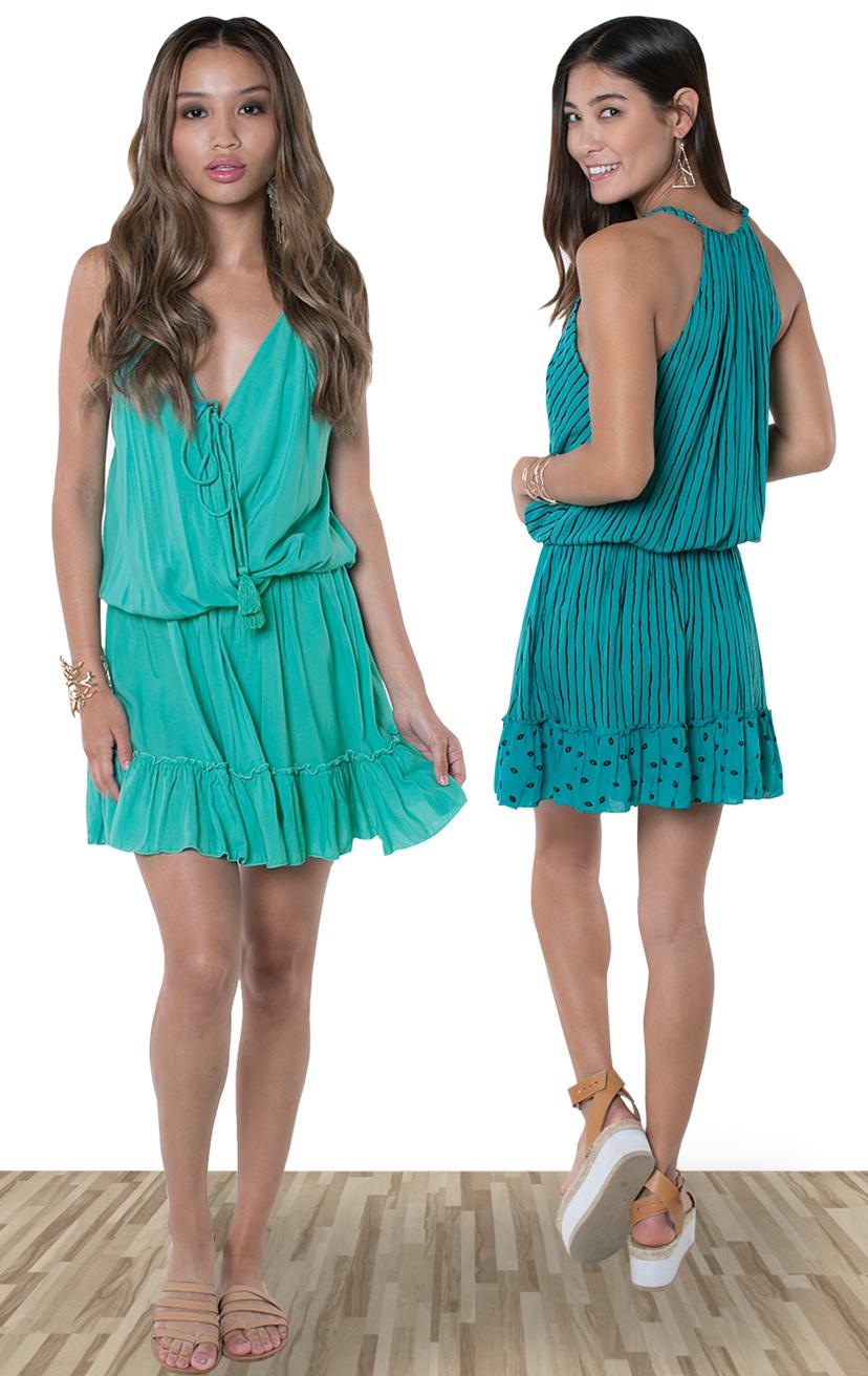 DRESS MAYAN   Front wrap short dress, elastic waist with pom pom ties, bottom ruffle  100% RAYON | XS-S-M-L