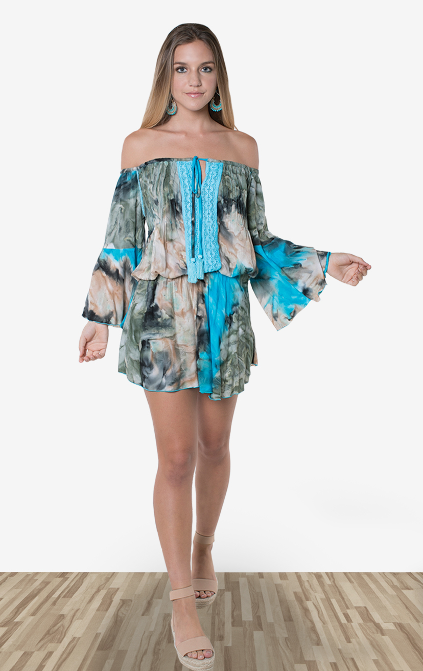 DRESS LAILI    Off shoulder bell slv short dress, elastic waist, front pleat & lace detail, front pom pom ties  100% RAYON | XS-S-M-L