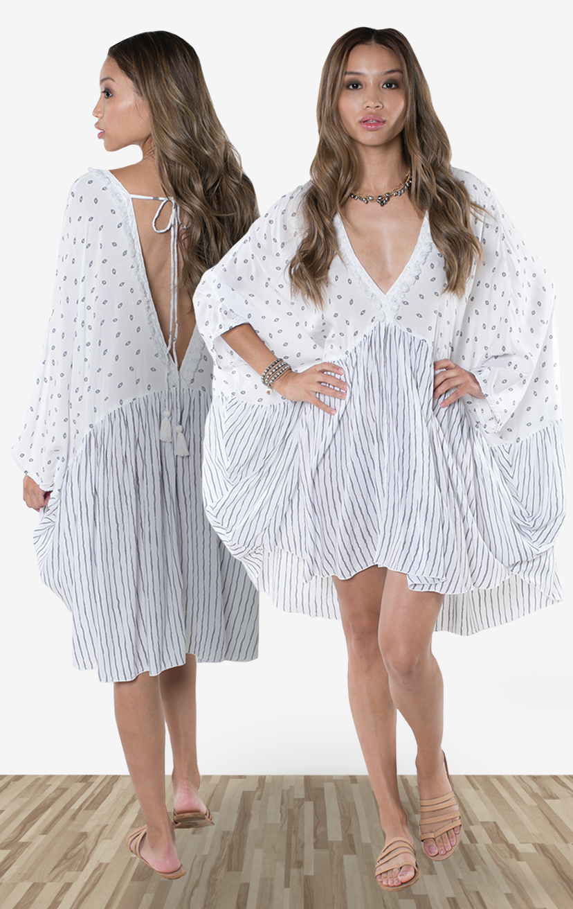 COVER-UP DESTIN   Flowy oversized silhouette cover-up, deep v-neckline w/ lace detail, open back w/ pom pom ties  100% RAYON | XS-S-M-L