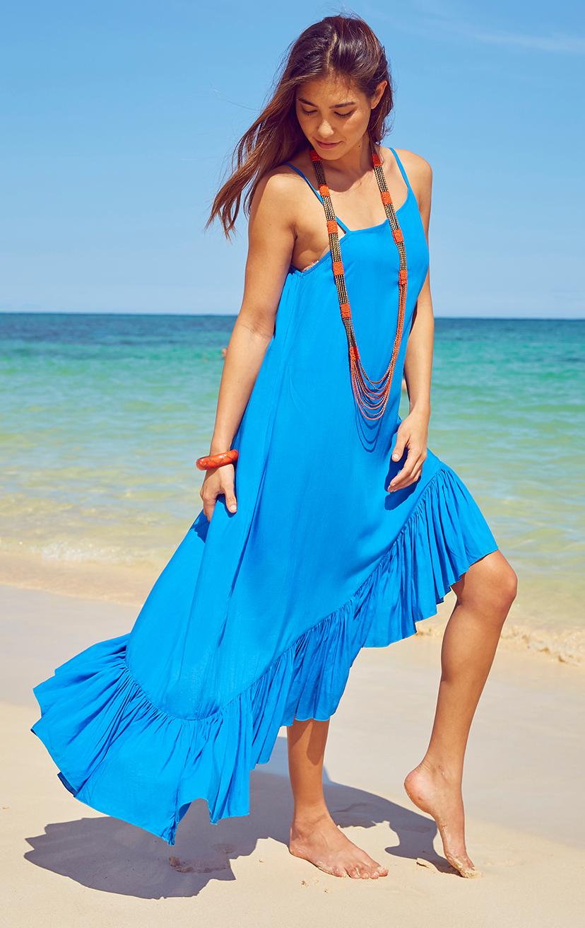 DRESS TULU   Spaghetti strap asymmetrical ruffle bottom dress  100% RAYON | XS-S-M-L