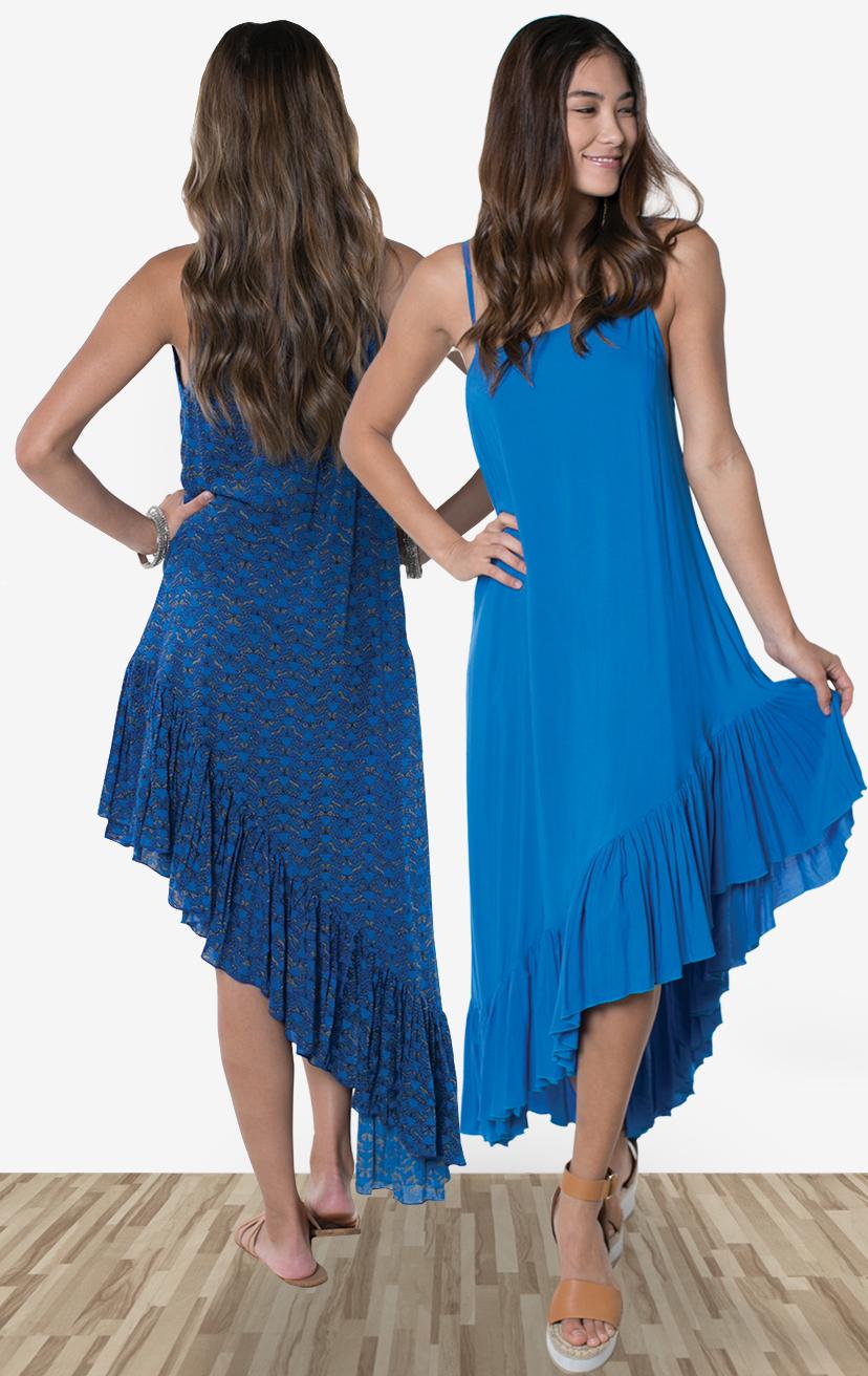 DRESS TULU M  Spaghetti strap asymmetrical ruffle bottom dress  100% RAYON | XS-S-M-L
