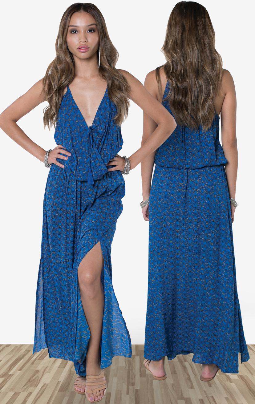 DRESS SUNSTAR   Front surplice dress w/ side slit, front pom pom ties, racerback  100% RAYON | XS-S-M-L