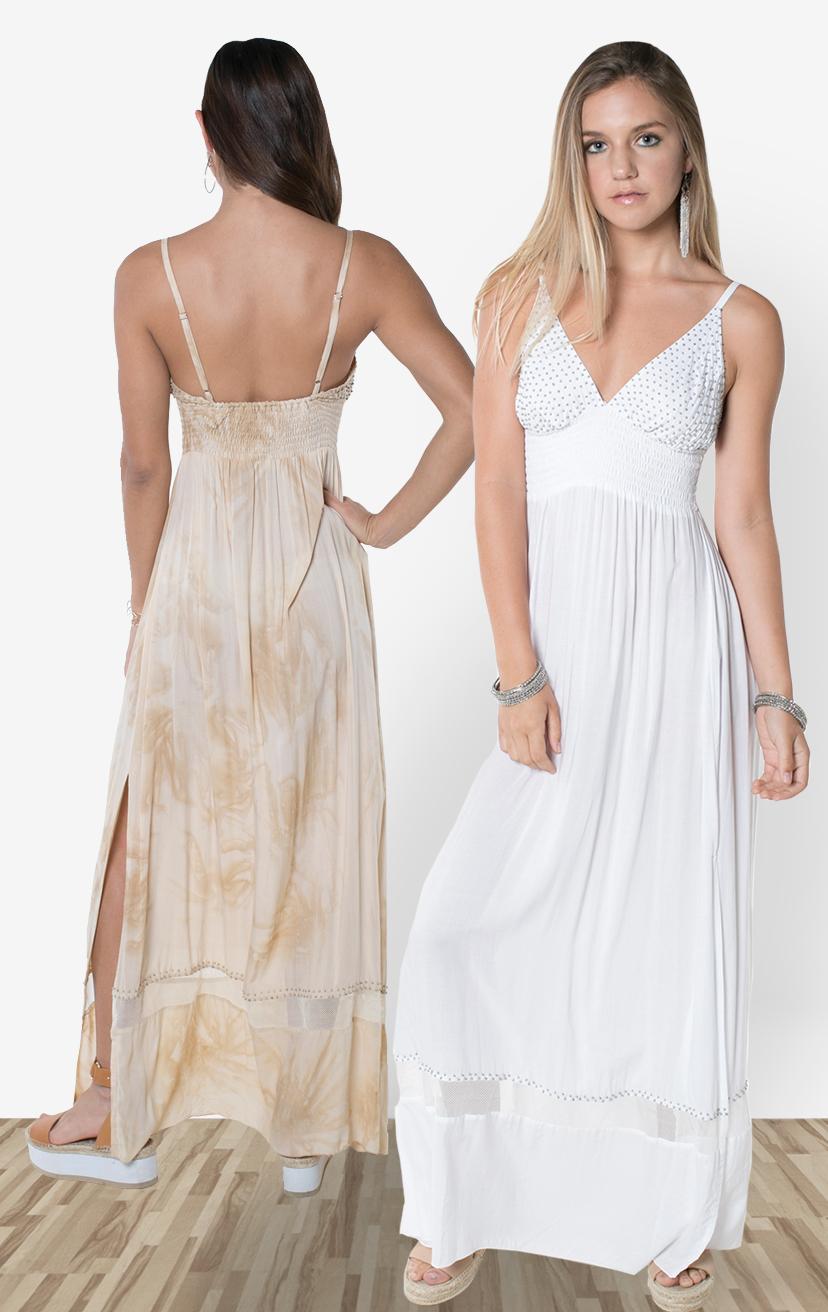 DRESS JASPER    Full beaded triangle top, spaghetti strap, wide smocked under bust, elastic back maxi dress  100% RAYON | XS-S-M-L