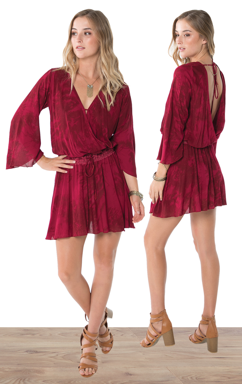 DRESS BRYON   High waist bell-slv short dress, front and back wrap, lace waistband, ties w/ tassels  100% RAYON | XS-S-M-L
