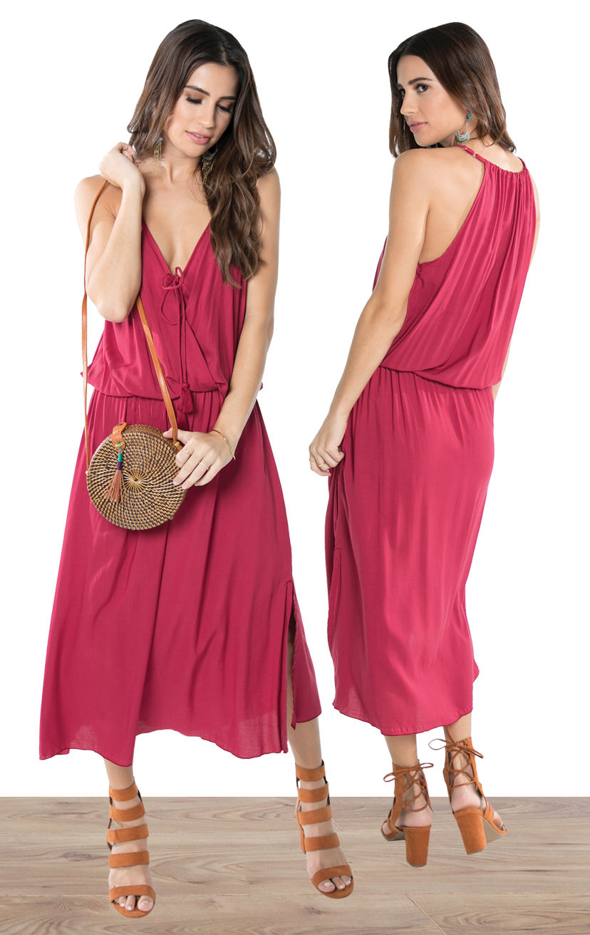 DRESS ACEY   HFront surplice midi dress w/ side slit, front ties w/ tassels, racerback  100% RAYON | XS-S-M-L