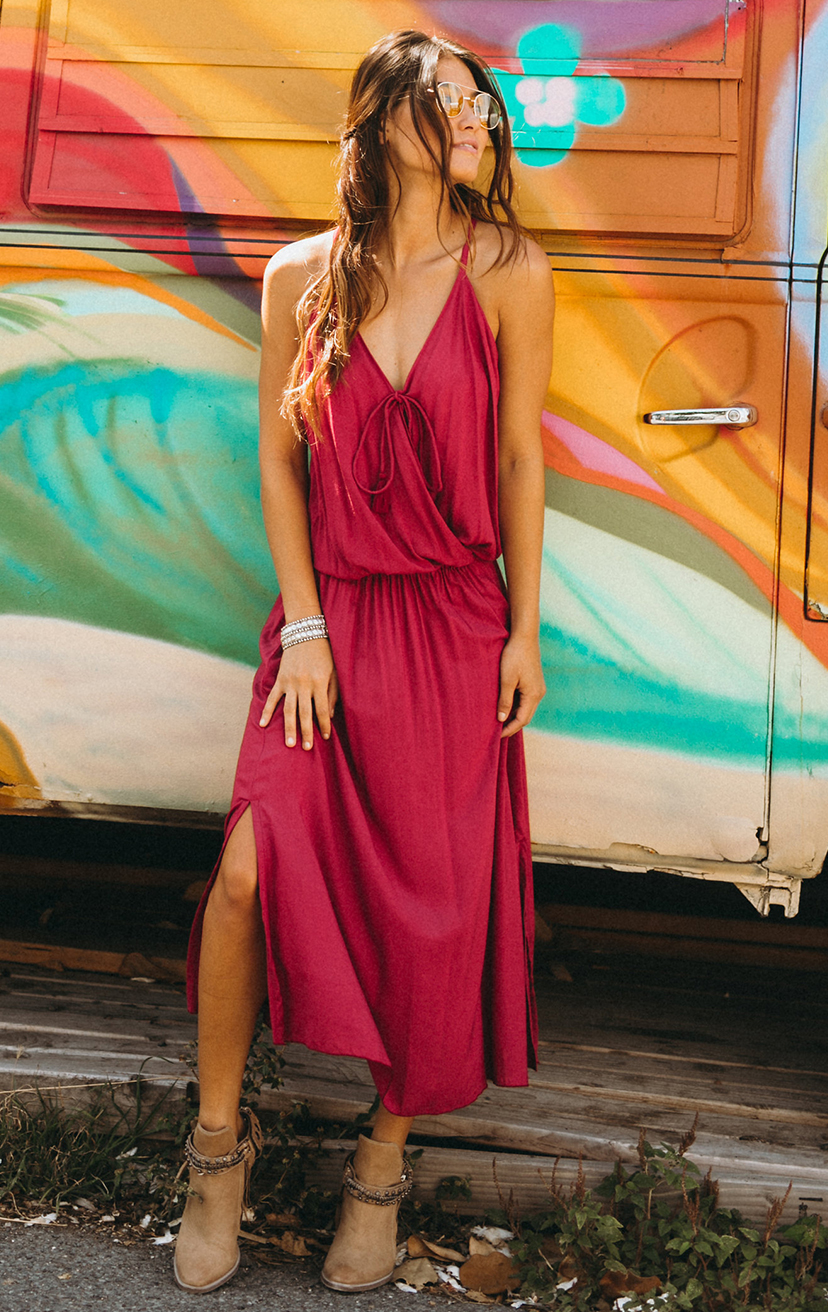 DRESS ACEY   Front surplice midi dress w/ side slit, front ties w/ tassels, racerback  100% RAYON | XS-S-M-L