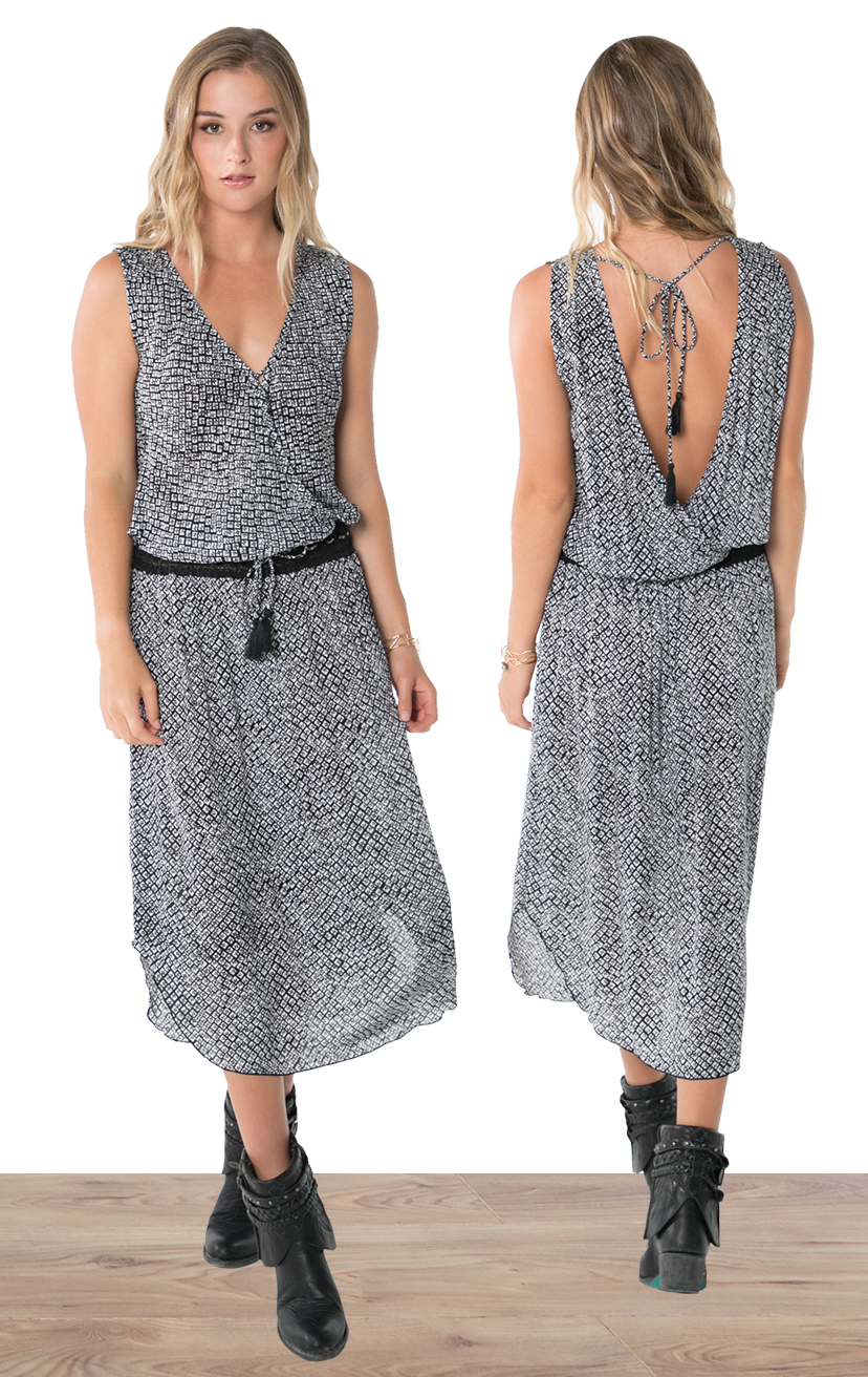 DRESS SOLEIL   Sleeveless wrap style, lace waistband, ties w/ tassels, tulip-hem midi dress  100% RAYON | XS-S-M-L