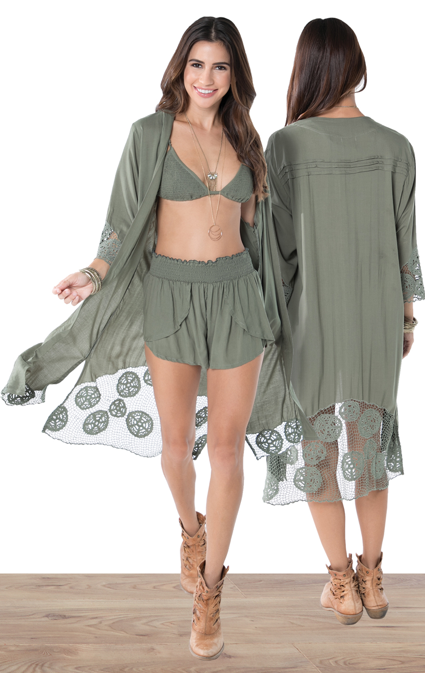 KIMONO KEISHA   L/s knee length kimono w/ cuff and back krawang embroidery, pleat back detail  100% RAYON | XS-S-M-L  –   TOP AYU   Top smocked bikini front with three tiered back detail  100% RAYON | XS/S, M/L  –   SHORTS CHASER   Wrap style shorts, elastic waist  100% RAYON | XS-S-M-L