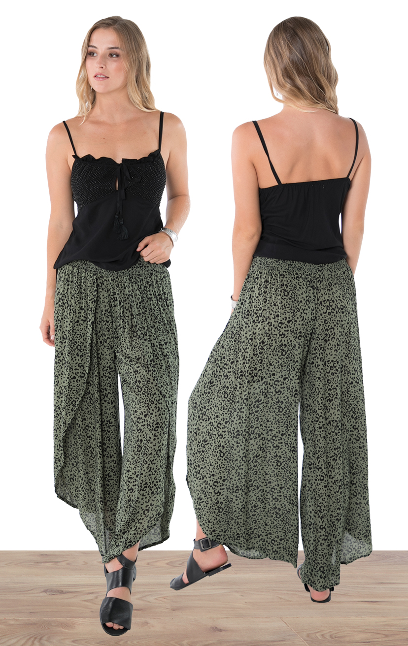TOP LUCY   Beaded adjustable spaghetti strap top, side slits  100% RAYON | XS-S-M-L  –   PANT LIVELY   Wrap style pant, elastic waist  100% RAYON | XS-S-M-L