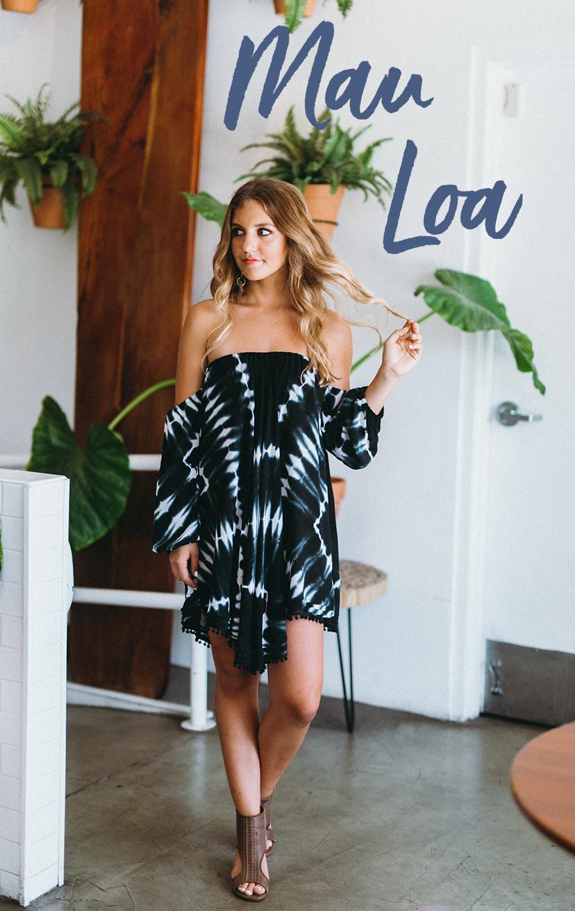 DRESS SIRENNA   Off shoulder 3/4 slv short dress, v-bottom cut w/ pleat detail  100% RAYON | XS-S-M-L