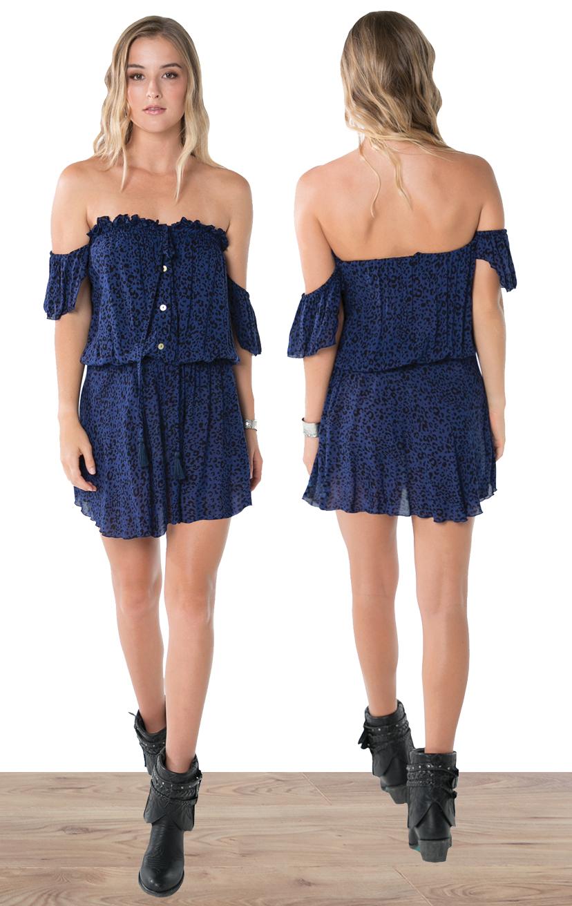 DRESS MILEE   Strapless off-shoulder, cap-slv, button front, short dress  100% RAYON | XS-S-M-L