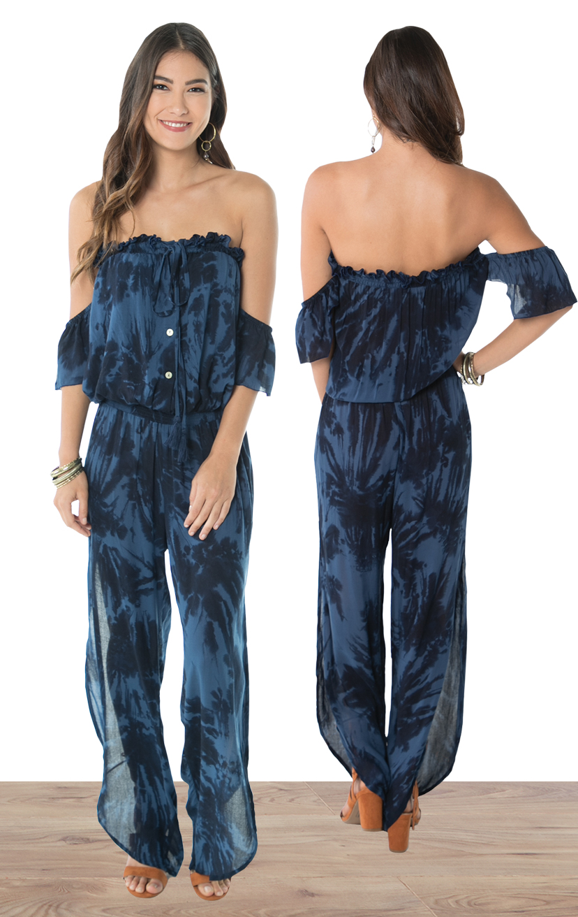 JUMPSUIT BLOOM   Strapless off-shoulder, cap-slv, button front, deep side slits w/ round bottom jumpsuit  100% RAYON | XS-S-M-L