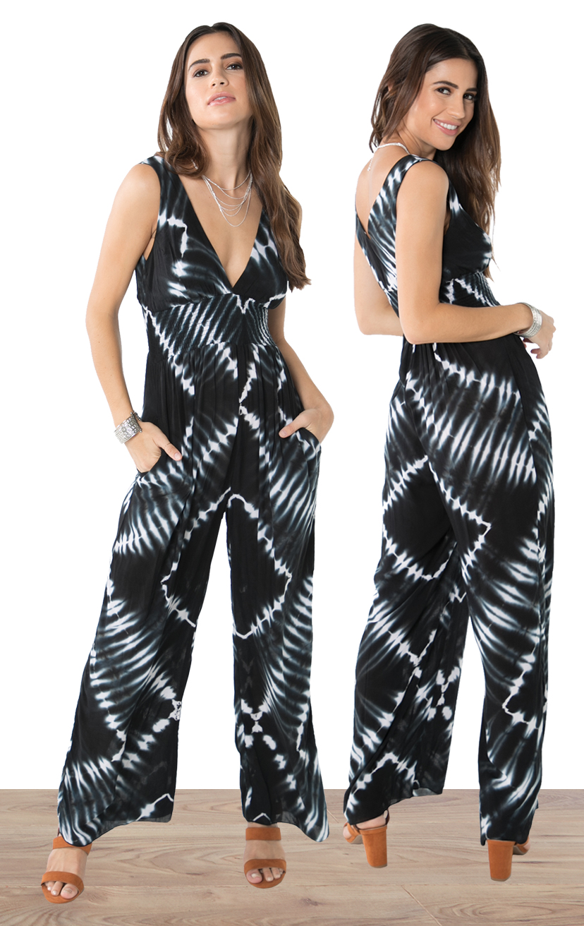 JUMPSUIT AURA   Deep-v sleeveless empire-waist jumpsuit with side pockets  100% RAYON | XS-S-M-L