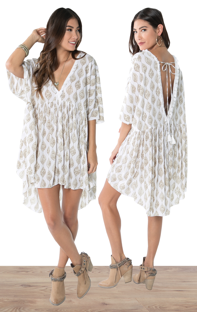 COVER-Up MALDIVES   Flowy silhouette cover-up, deep v-neck w/ lace detail, open back w/ tassel ties  100% RAYON | XS-S-M-L